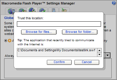 Macromedia Flash Player Settings Manager - Global Security Settings